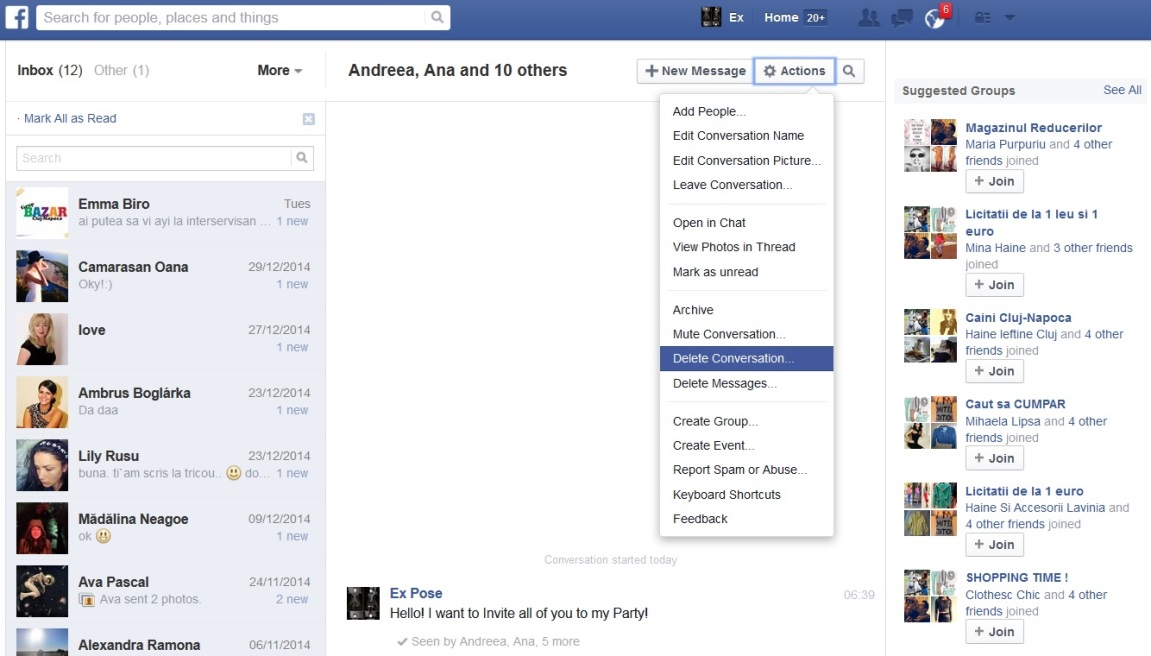 facebookメッセージを削除する