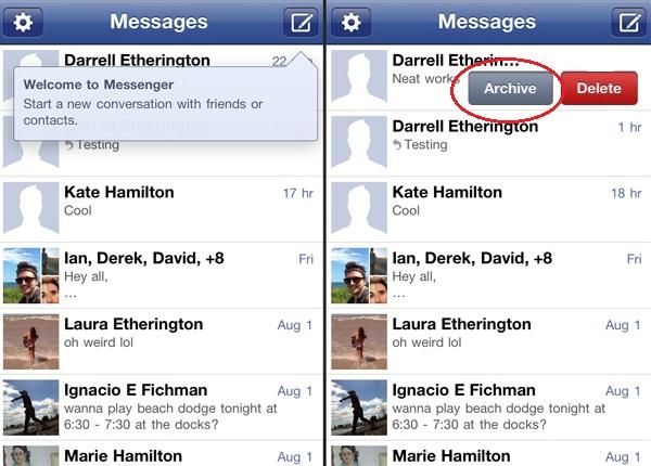 iOS用のFacebook Messenger上でメッセージを検索・非表示・ブロックする方法