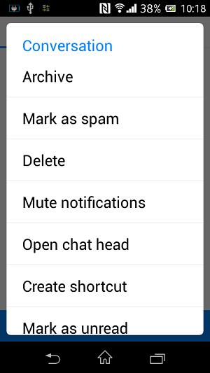 androidでFacebookメッセージを削除する