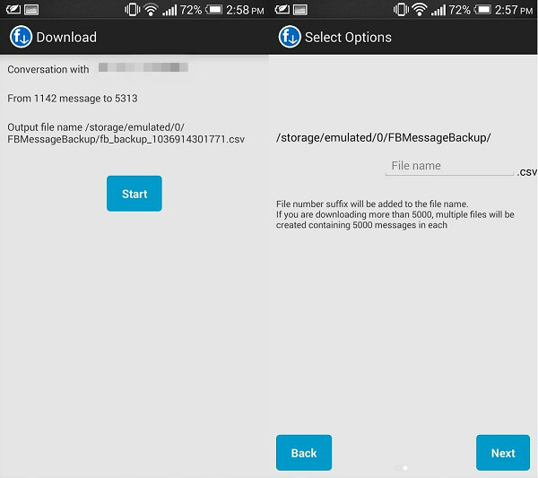 androidでfacebookメッセージエクスポート