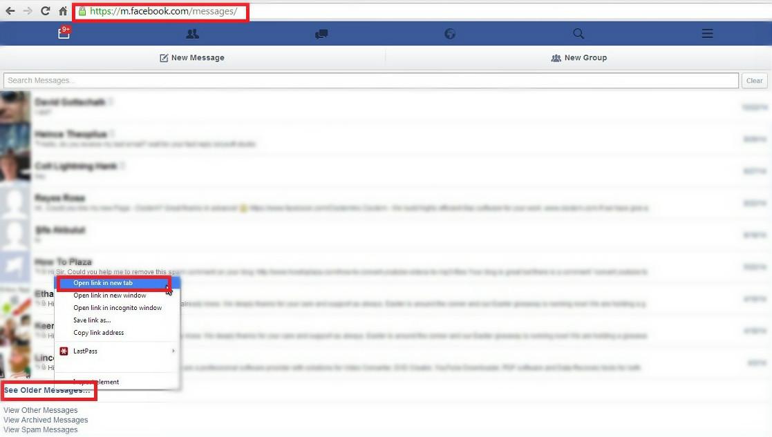 Androidで古いFacebook Messengerのメッセージを読む方法