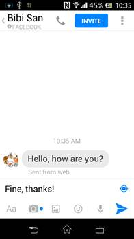 AndroidでFacebookメッセージを送信