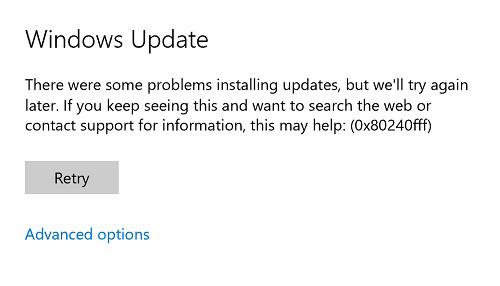 0x80240fffエラーでWindows updateが失敗