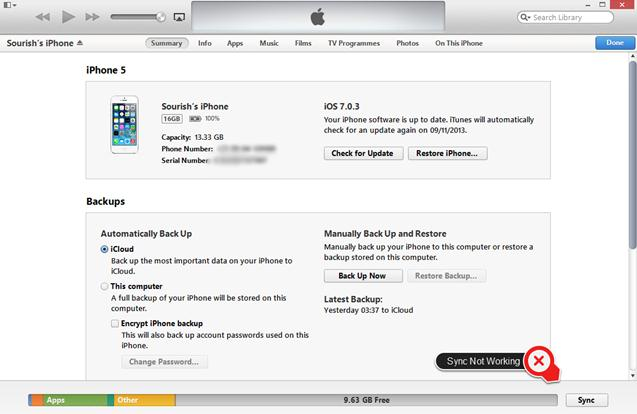 iTunes12で音楽同期失敗