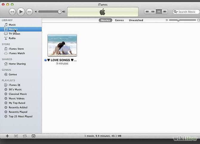 iTunesへムービーを転送