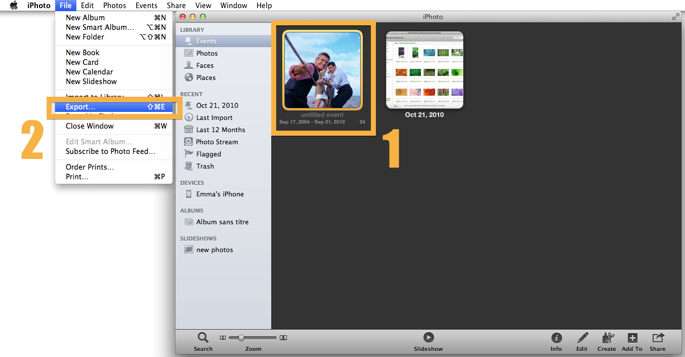 Export the Slideshow from iPhoto to iDVD