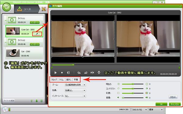 DVDに変換する前に、MTSファイルを編集する