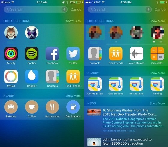 iOS 9復元:iOS 9知能の向上