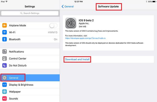 iOS 9をダウンロード