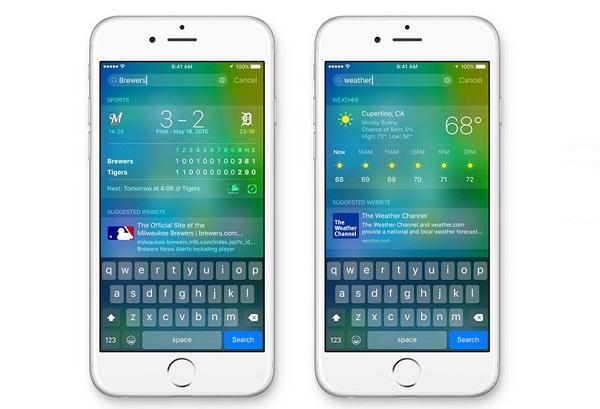 ios 9 vs ios 8 Siriと検索