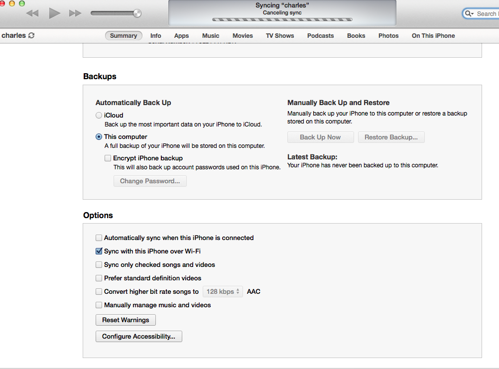 iTunes,iPhone,バックアップ