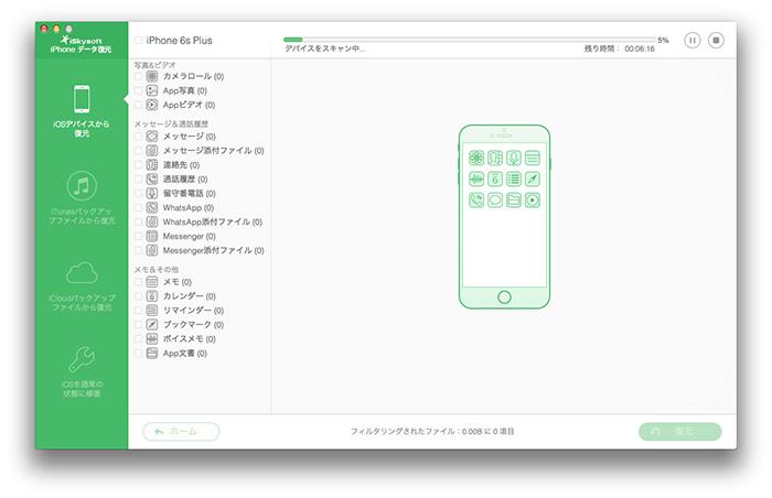 iOSから紛失データを復元
