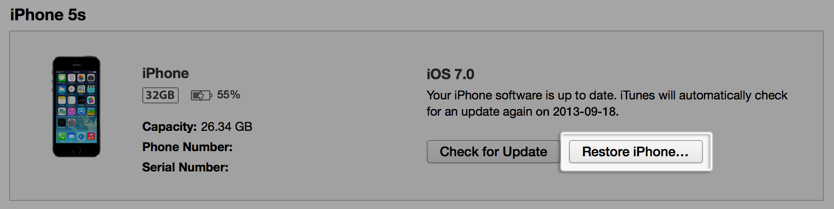 「iPhoneを復元」をクリック