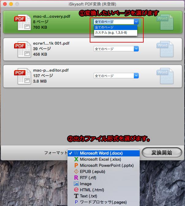 PDFをEXCELに変換時に出力形式を設定