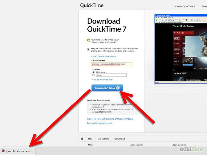 QuckTimeをダウンロード