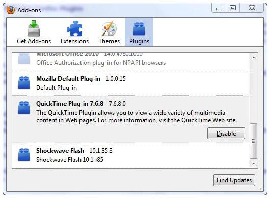 QuickTimeプラグイン for Firefox