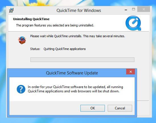 QuickTimeをアンインストール