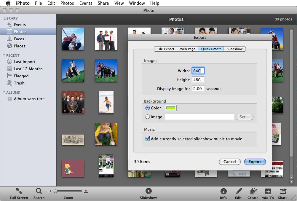 iPhotoで動画を回転