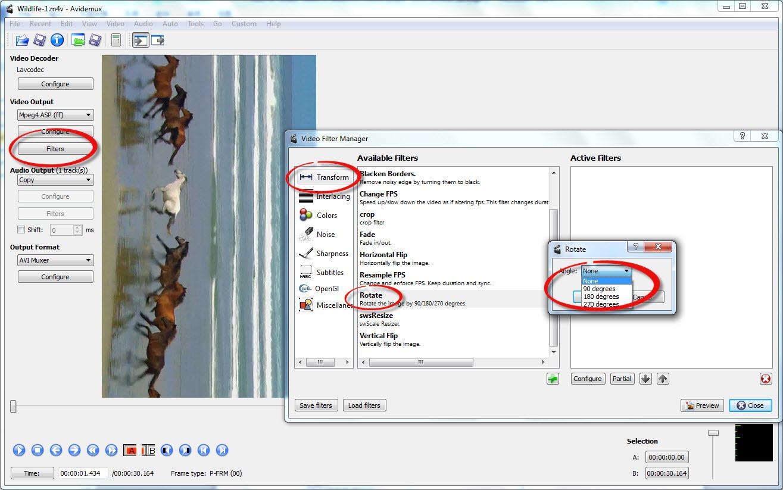 Avidemux GTKで動画ファイルを回転