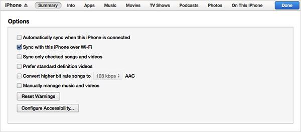Wi-Fi経由でiPhone と iTunes の同期