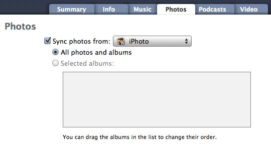 iPhoneはiPhotoと一緒に同期しない