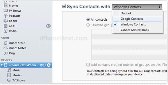 iPhoneからAndroid にアドレス帳を同期する