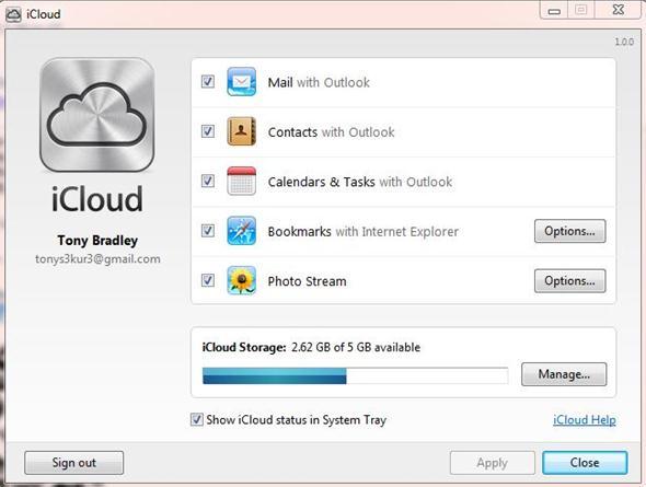 iCloudを使ってOutlook E-mailを同期する