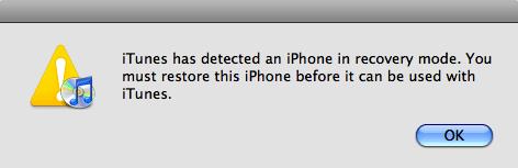 iPodがリカバリーモードから抜け出せない